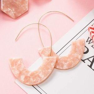 Jewelry - Blush Pink Acrylic Half Circle Wire Hoop Earrings
